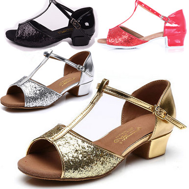 e5a665d11bb Free shipping Child and adult 3.5cm low heel PU Latin ballroom dance shoes  305 gold and silver colors EUR size 24-41