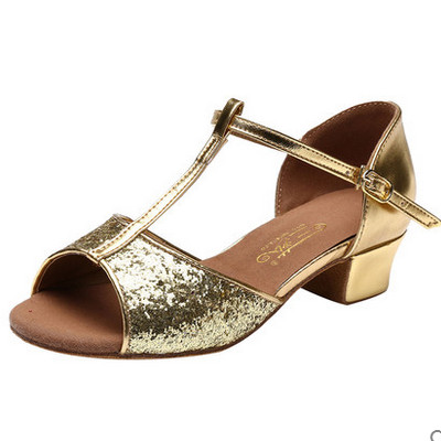abb1bab26b96 Free shipping Child and adult 3.5cm low heel PU Latin ballroom dance shoes  305 gold and silver colors EUR size 24-41