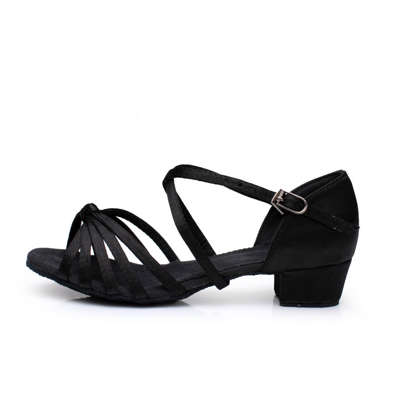 2406de569 Free shippin children's satin low-heeled soft sole latin dance shoes for kids  girl