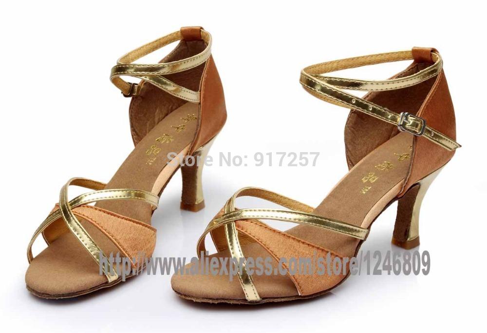 8e7c720da Brand New Women's Ballroom Latin Tango Dance Shoes heeled Sales Promotion  gold black red blue with gold color 5cm heels WZSP6-2
