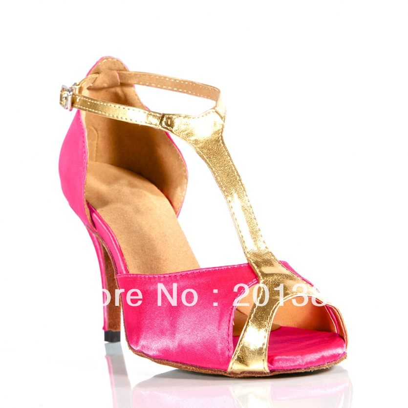 pink satin t shoes ballroom