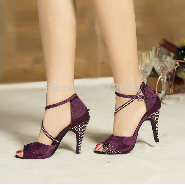 8bc737a64 The new European&American women's Latin Dance Shoes Rhinestone Square  fellowship shoes modern high-heeled dance shoes XC-6345