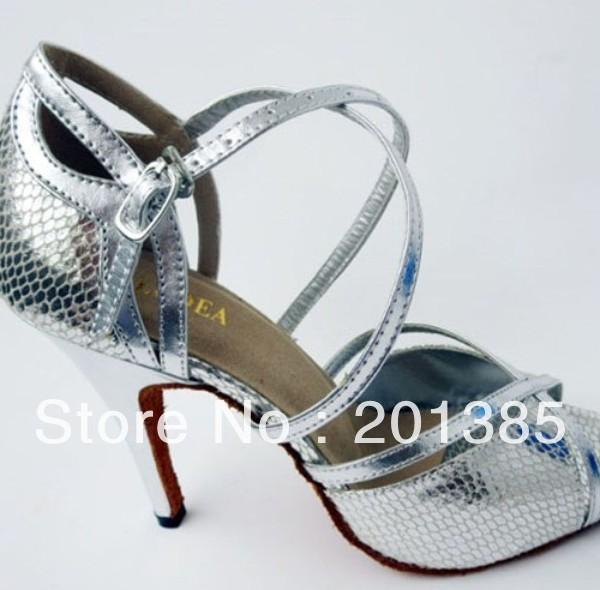 b15d4435d1bd Wholesale Ladies Silver Snakeskin Leather LATIN Ballroom Dance Shoes Salsa  Tango Samba Dancing Shoes 34