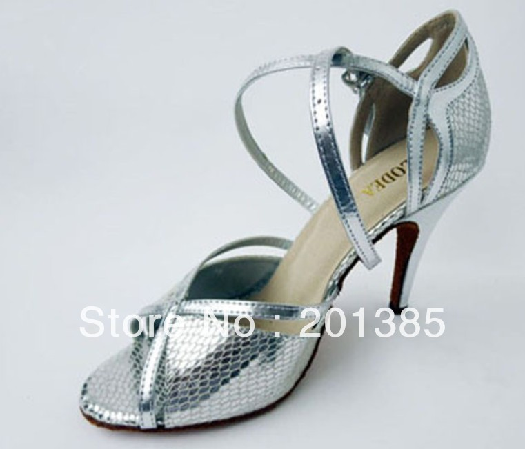 64647a0a464aff Wholesale Ladies Silver Snakeskin Leather LATIN Ballroom Dance Shoes Salsa  ...